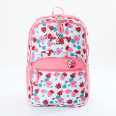 Pepe Jeans Printed Backpack with Zip Closure