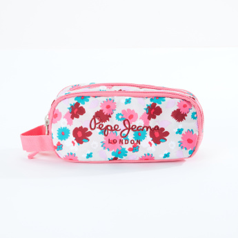 Pepe Jeans Floral Printed Pencil Case with Zip Closure