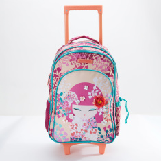 Kimmi Doll Printed Trolley Backpack with Zip Closure