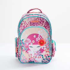 Kimmi Doll Printed Backpack with Zip Closure