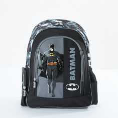Batman Printed Backpack with Zip Closure and Adjustable Strap