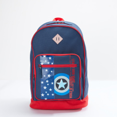 Captain America Printed Backpack with Zip Closure