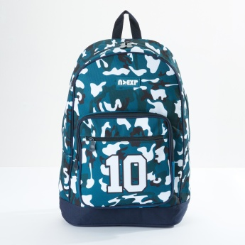 Camouflage Printed Backpack with Zip Closure