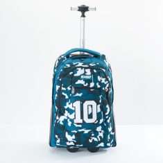 Printed Trolley Backpack with Zip Closure and Adjsutable Straps