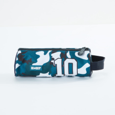 Camouflage Printed Round Pencil Case with Zip Closure