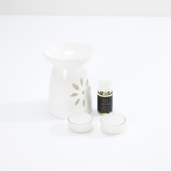 Cylindrical Oil Burner with 2 Tealights and Oil