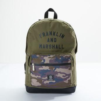 Franklin & Marshall Printed Backpack with Zip Closure