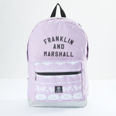 Franklin and Marshall Printed Backpack with Zip Closure