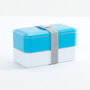 Compact 2-Tier Lunch Box with Cutlery