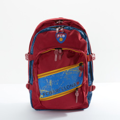 FC Barcelona Printed Backpack with Zip Closure and Adjustable Straps
