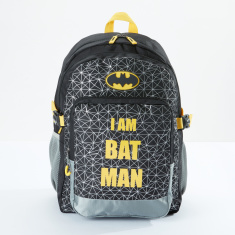 Batman Printed Backpack with Zip Closure