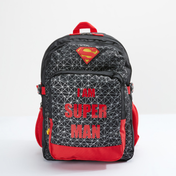 Superman Printed Backpack with Zip Closure and Adjustable Straps