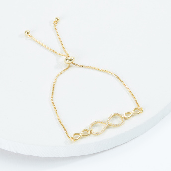 Sasha Studded Bracelet with Infinity Symbol and Toggle Slider Clasp