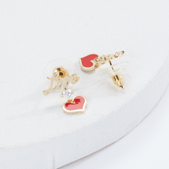 Sasha Studded Dangling Earrings with Push Back Closure