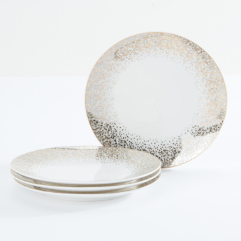 Decorative Printed Round Plate - Set of 4