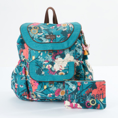 Sakroots Printed Backpack with Flap and Drawstring Closure