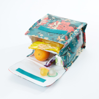 Sakroots Floral Printed Flap Lunch Bag with Hook and Loop Closure