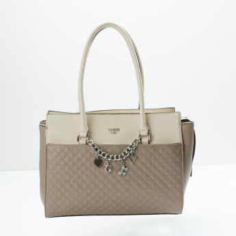Guess Quilted Hand Bag with Zip Closure and Metallic Charm