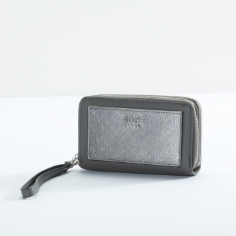 Guess Printed Wallet with Detachable Wrist Strap and Zip Closure