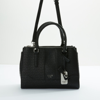 Guess Textured Tote Bag with Zip Closure and Adjsutable Strap
