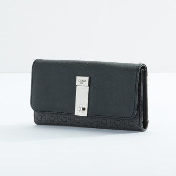 Guess Textured Tri-Fold Wallet with Flap and Press Button Closure