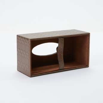 Brown Textured Tissue Box Cover