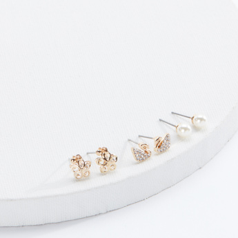 Sasha Assorted Earrings with Push Back Closure - Set of 3