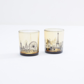 Cityscape Printed Candle Holder - Set of 2