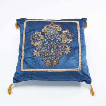 19V69 Embroidered Filled Cushion with Tassel Detail - 45x45 cms