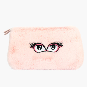 Maybelline New York Plush and Embroidered Pouch with Zip Closure