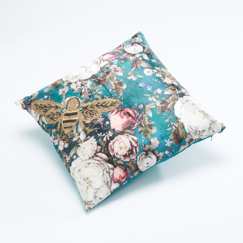 Beaded Floral Printed Filled Cushion - 40x40 cms
