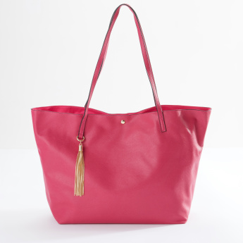 Sasha Shopper Bag with Magnetic Snap Closure and Tassel Detail