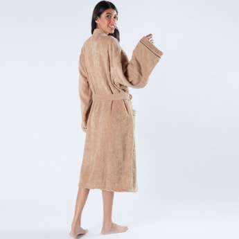 Textured Kimono Bathrobe with Piping Detail and Tie Up Belt
