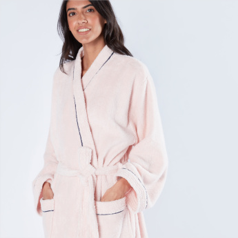 Textured Kimono Bathrobe with Tie Up and Pocket Detail