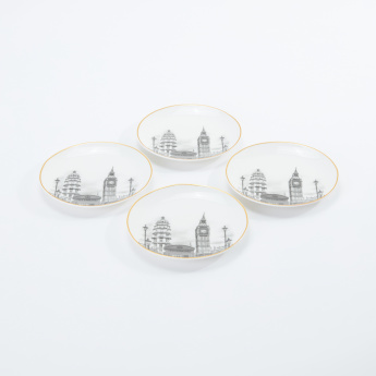 London Printed Snack Plate - Set of 4