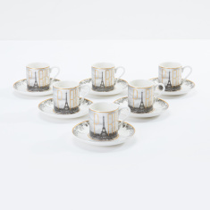 Paris Printed Cup and Saucer - Set of 6