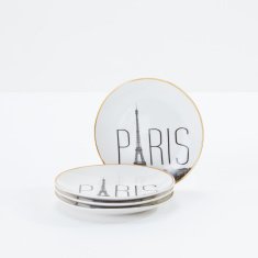 Paris Printed Snack Plate - Set of 4