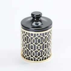 Golden Mesh Cotton Jar with Lid