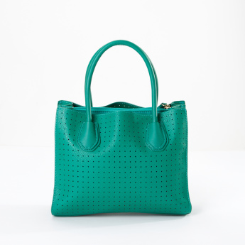 Sasha Satchel Bag with Perforation Detail and Zip Closure