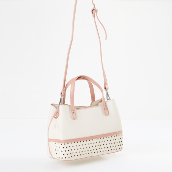 Sasha Perforated Crossbody Bag with Contrast Color Handle.