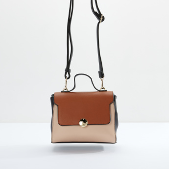 Sasha Colour Blocking Satchel Bag with Magnetic Snap Closure
