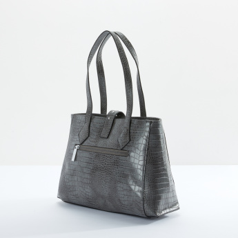 Sasha Textured Handbag with Zip Closure and Twin Handles