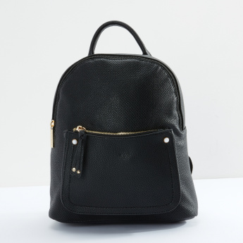 Sasha Textured Backpack with Zip Closure