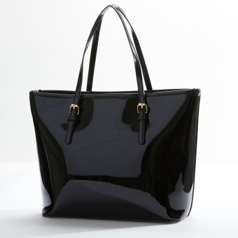 Sasha Shopper Bag with Bow Applique and Zip Closure