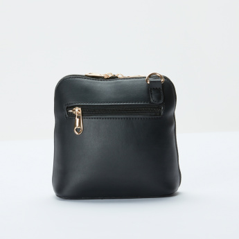 Sasha Metallic Detail Crossbody Bag with Zip Closure