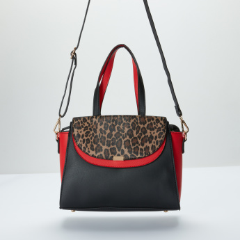 Sasha Printed Handbag with Zip Closure and Twin Handles