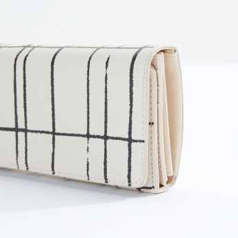 Sasha Chequered Long Tri-Fold Wallet with Button Closure