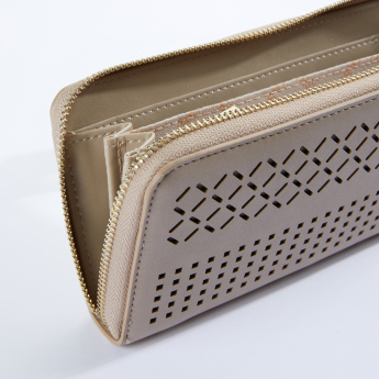 Sasha Laser Cut Detail Zip Around Long Wallet