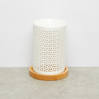 Rose Cutout Detail Pillar Candle Holder