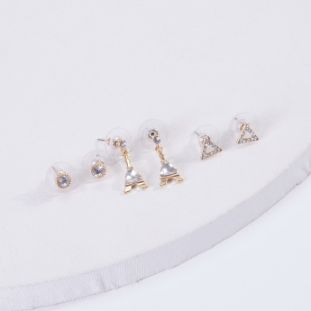 Sasha Studded Earrings with Push Back Closure - Set of 3
